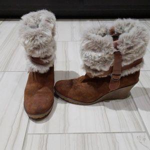 Steve Madden Fur Wedge Boots